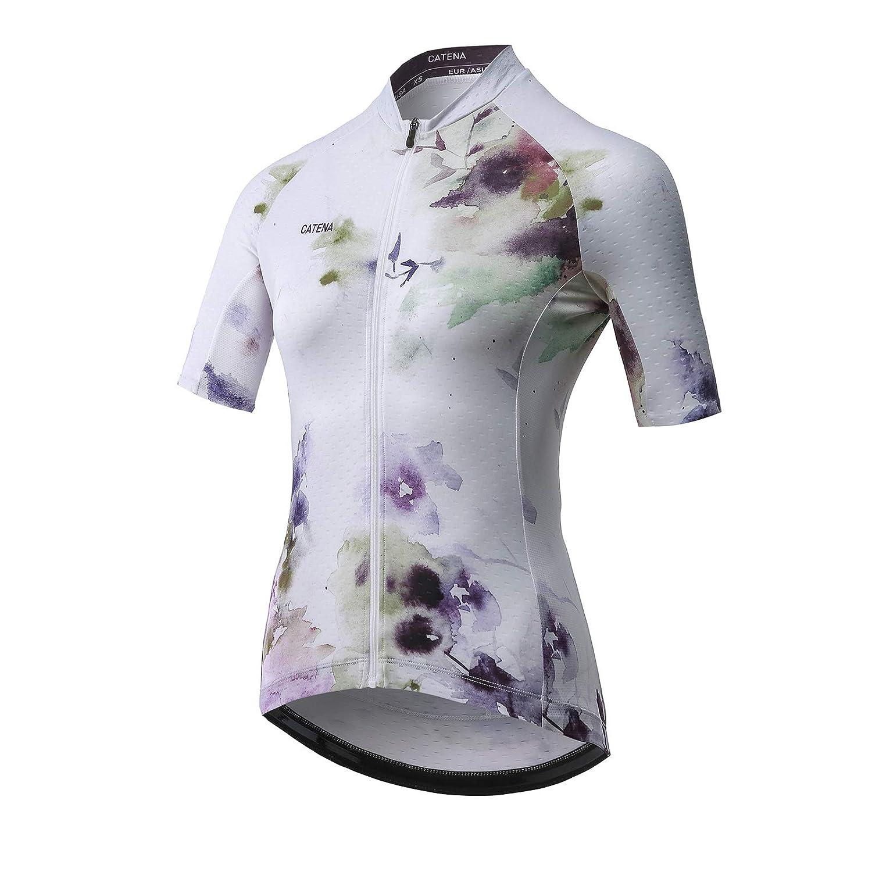 Catena Womens Cycling Jersey Short Sleeve Shirt High Elastic Athletic Training Sports T-Shirt