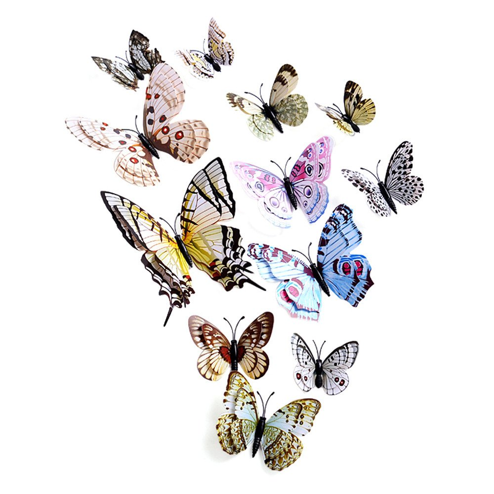 callm Wall Stickers,3D 12PCS Butterfly Wall Sticker Fridge Magnet Room Decor Decal for Your Room Office Nursery Shop Bar (Multicolor)