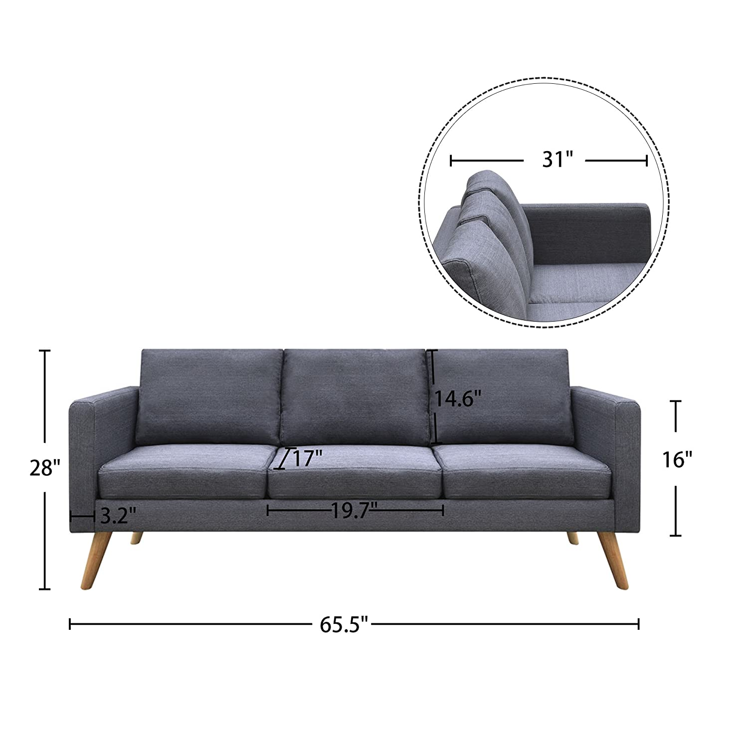 Cloud Mountain Gray Linen Fabric Sofa Living Room Furniture 3 Seat Couch with Cushion
