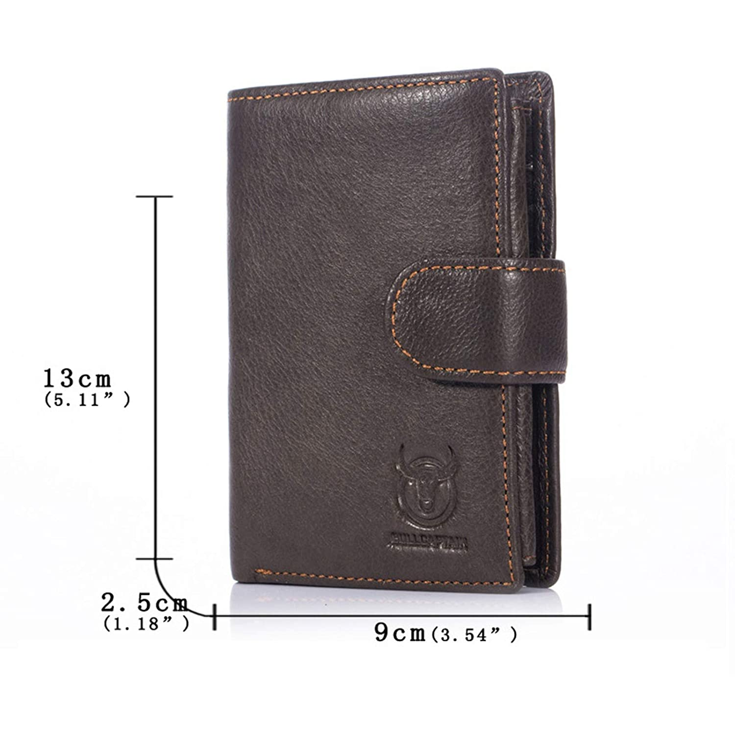 Adisaer-Leather Wallets for Men Brown Snap Button Credit Card Holder Trifold