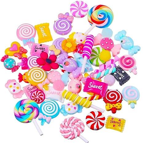 Juego de dulces mixtos, lollipop de resina Slime Beads Making suministros para bricolaje Scrapbooking Crafts