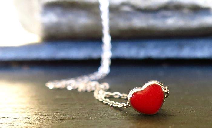 Silber Herz Kette Mein Rotes Herz Geschenk Fur Verliebte Geschenk
