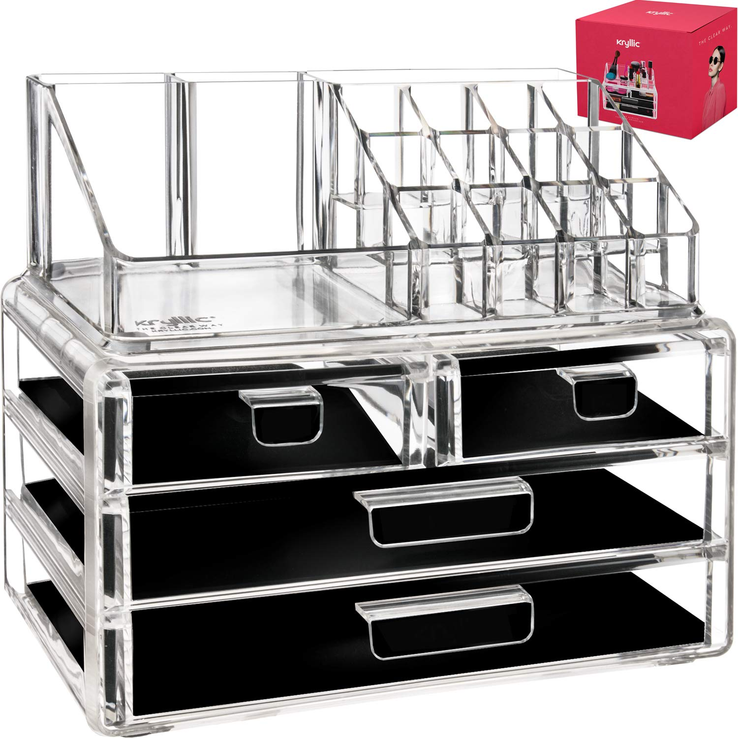 Acrylic Makeup Jewelry Vanity Organizer - Clear lipstick Make up brush display case container for beauty products! 16 slot 4 box drawers holder storage earring and other cosmetic items for bathroom! Kryllic COMIN16JU033459