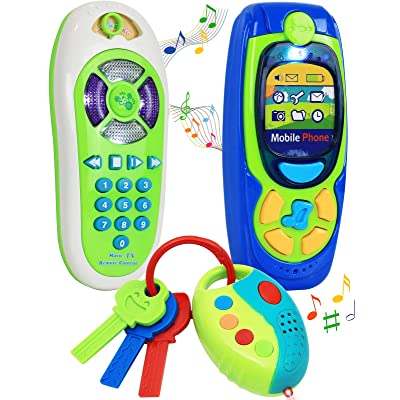 Click N' Play Pretend Play Cell Phone TV Remote & Car Key Accessory Playset for Kids with Lights Music & Sounds (Set of 3): Toys & Games