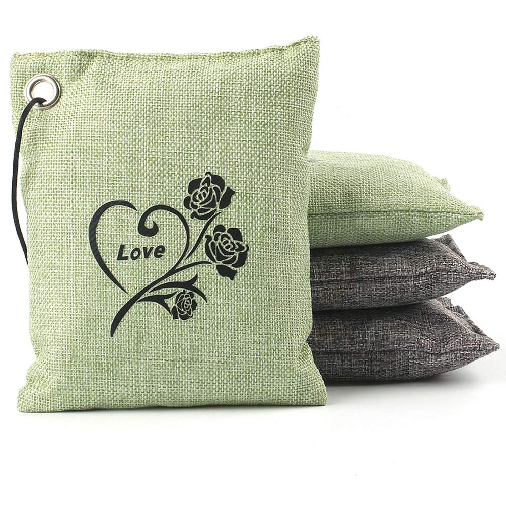 Natural Bamboo Charcoal Air Purifying Bag Deodorizer Air Freshener Bags Home, Bedrooms, Kitchen, Bathroom, Fridge, Closet, Car Pet Areas (4 Pack 200G) datonten