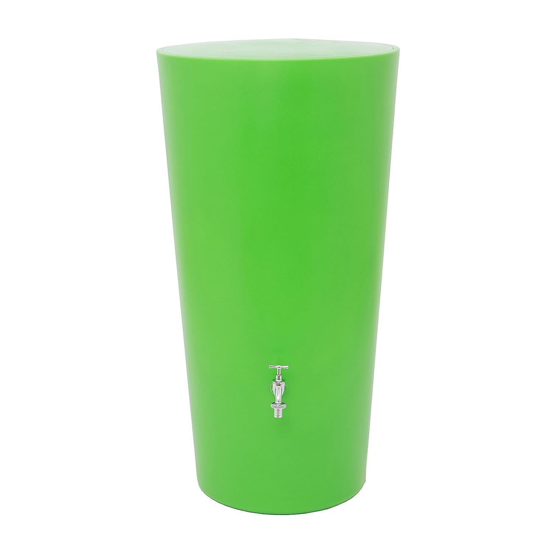 Regentonne Regenspeicher Rainbowl 210 Liter in der Farbe kiwi aus UV- und witterungsbeständigem Material. Regenfass bzw. Regenwassertank mit kindersicherem Deckel und hochwertigen Messinganschlüssen.