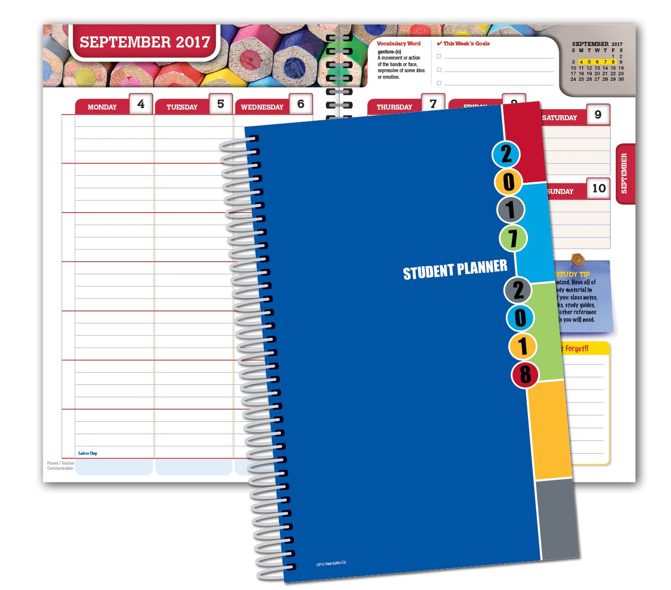 Dated Middle School or High School Student Planner for Academic Year 2018-2019 (Matrix Style - 5.5x8.5 - Blue Colors Cover) - Bonus Ruler/Bookmark and Planning Stickers Global Datebooks