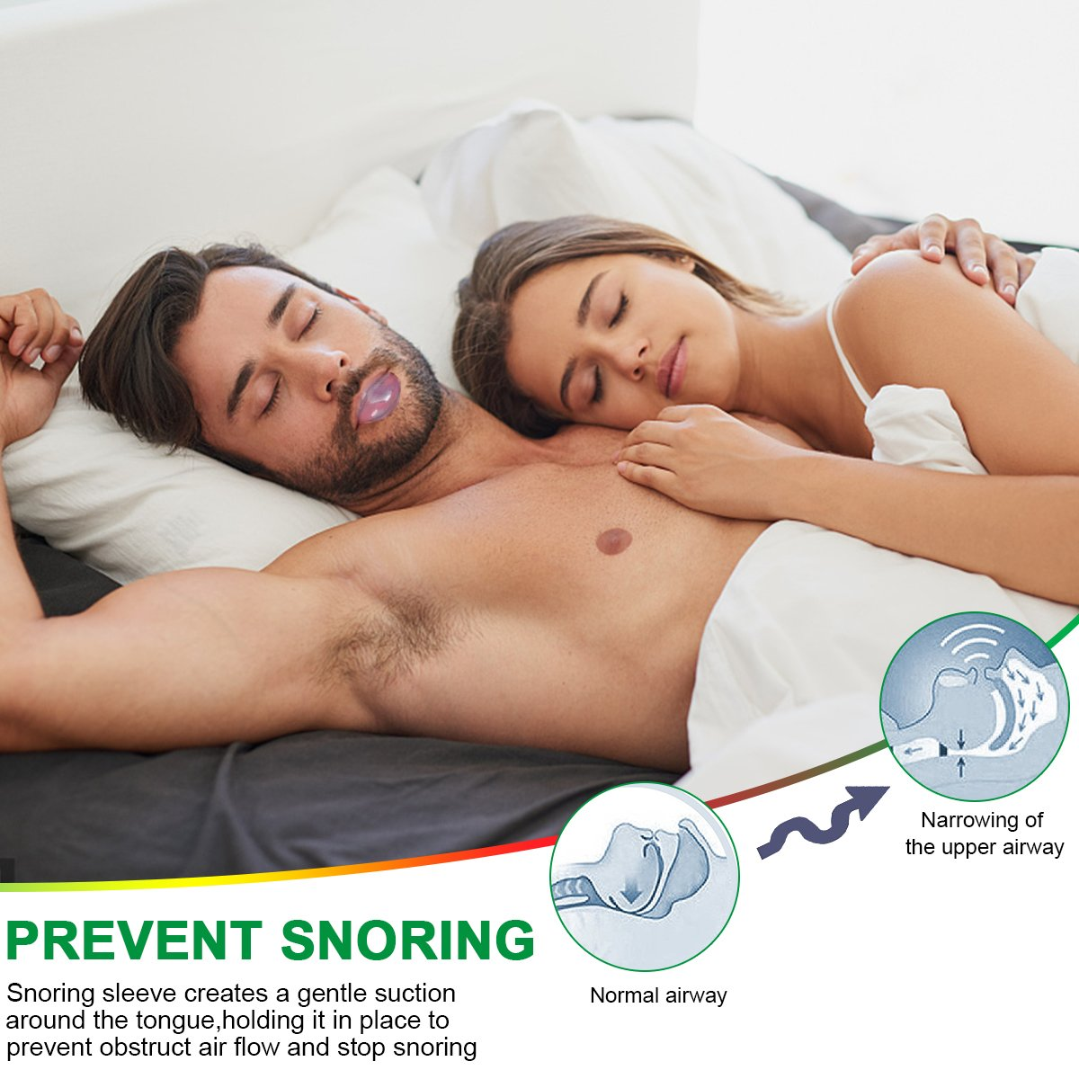 Anti Snoring Devices Tongue, 4 Set Snore Stopper Nose Vents Nasal Dilators Stop Snoring Solution Snoring Mouthpiece Sleep Aid Device Snore Reduction Silicone Snoring Tongue Retainer for Men Women by Donier (Image #2)