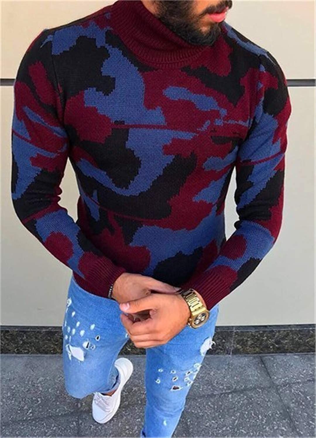 JGYFTJ Mens Autumn Turtleneck Sweaters Male Casual Camouflage Sweater Pullover Knitwear Slim Fit Neck Knitted Sweater