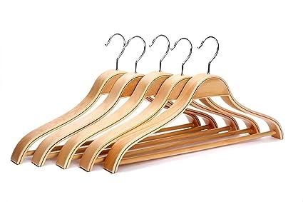 J.S. Hanger Perchas de madera resistente, multifuncional, para trajes, americanas, abrigos,