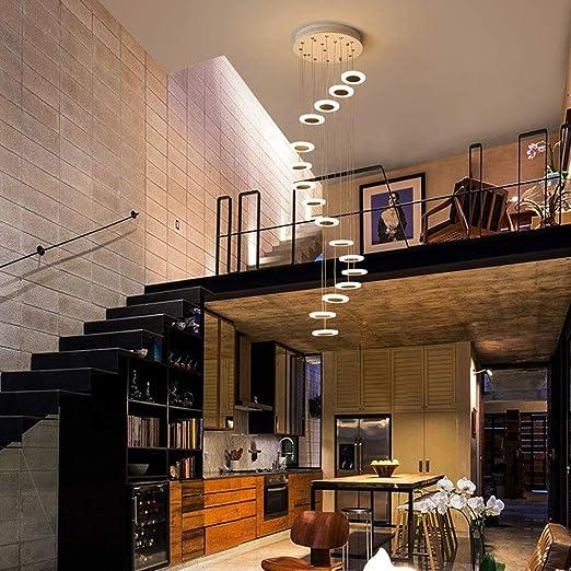 Escalera Pasillo Lámpara colgante Luz colgante de techo redonda Moderno Creativo LED Blanco cálido Sala de estar Comedor Araña Loft Hall Hotel Tienda Decoración Lámpara,16lights: Amazon.es: Iluminación