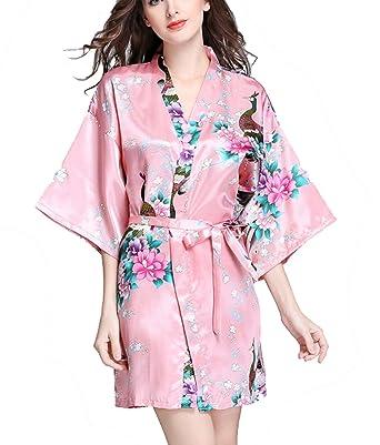 TieNew 1/2 Albornoz Mujer Corto Kimono Batas Baño,Camison mujer corto Lencería Satén Casa Cama Fiesta: Amazon.es: Ropa y accesorios