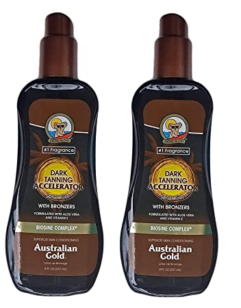4479f5b939 Amazon.com   Australian Gold Dark Tanning Accelerator Spray Gel with  Bronzer (2 Pack)   Beauty