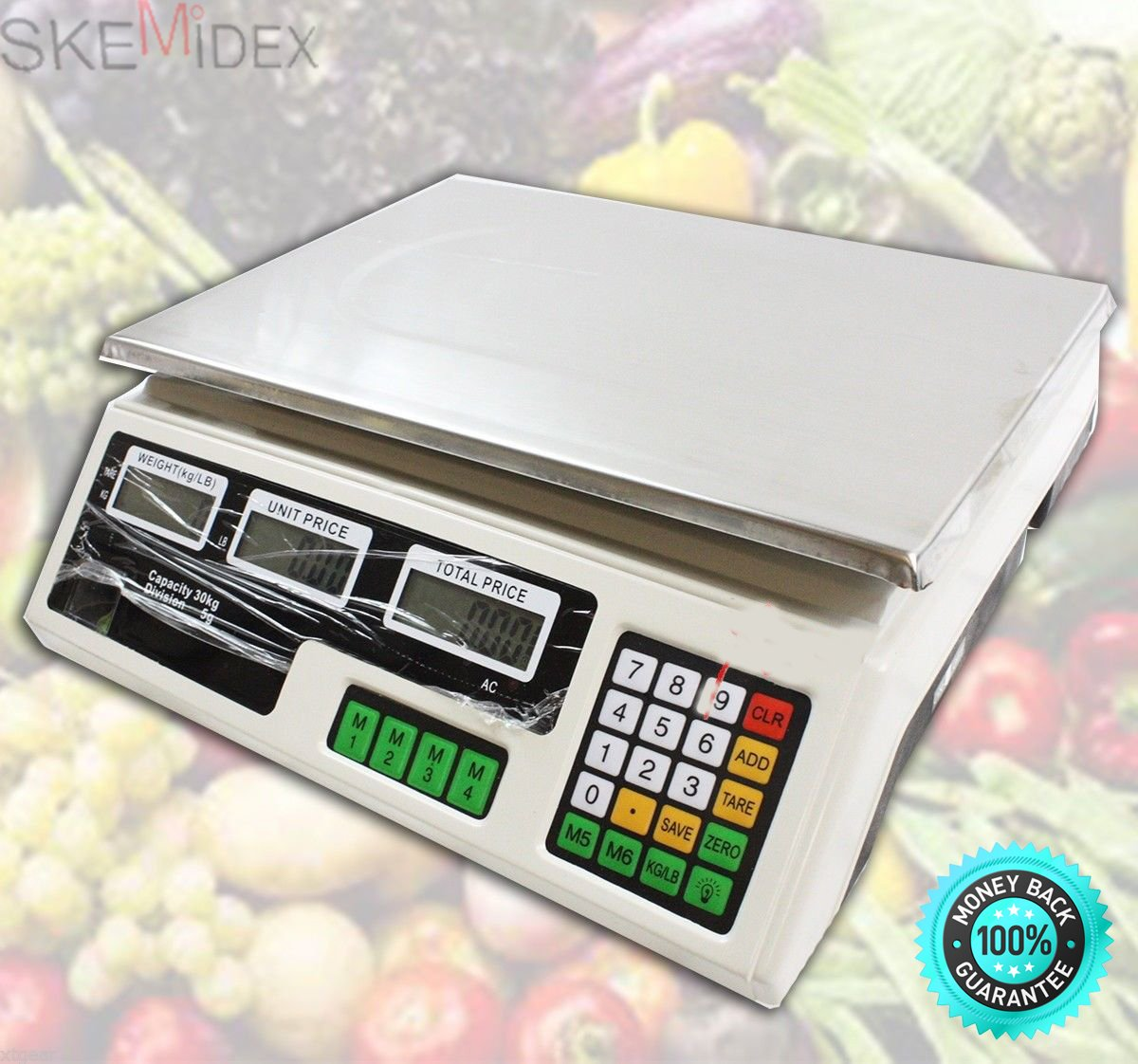 SKEMiDEX---66LB 30KG FRONT AND BACK DIGITAL PRICE DELI FOOD MEAT COMPUTING SCALE. Lightweight and durable front and back digital display for customer viewing Easy to clean stainless steel top