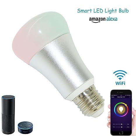 WiFi inteligente LED luz bombilla Intensidad regulable bombilla, 60 W equivalente regulable de Fiesta Multicolor
