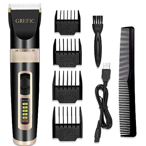 GREFIC Cortapelos Electrónico Maquinilla Cortar Pelo Ajustable indicador  LED con 4 Peines Adecuado para Barba ce401929cf96