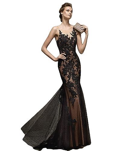 LMBRIDAL Women's Elegant Sheer Neck Evening Dress Lace Mermaid Formal Gown PMD17