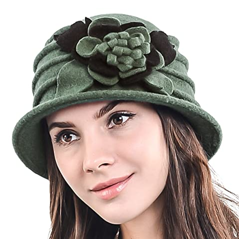 5877d1f1 JESSE • RENA Lady 100% Wool Floral Bucket Cloche Bowler Hat Felt Dress Hat  XC020