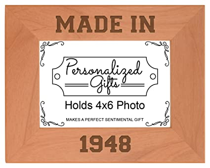 ThisWear 70th Birthday Gift Made 1948 Milestone Natural Wood Engraved 4x6 Landscape Picture Frame