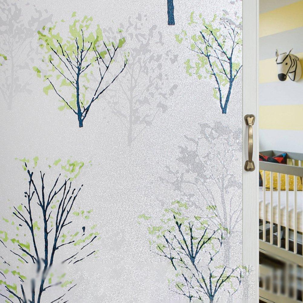DSAQAO La pellicule pour fenêtres décoratives confidentialité, Collement électrostatique Vinyle Autocollants pour fenêtres verre pour salle de bain chambre maison-A 90x200cm(35x79inch) QWQREER