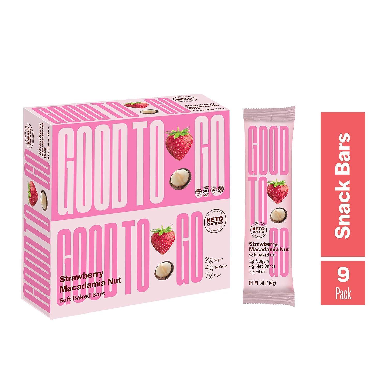 GOOD TO GO Soft Baked Bars - Strawberry Macadamia Nut, 9 Pack - Gluten Free, Keto Certified, Paleo Friendly, Low Carb Snacks…