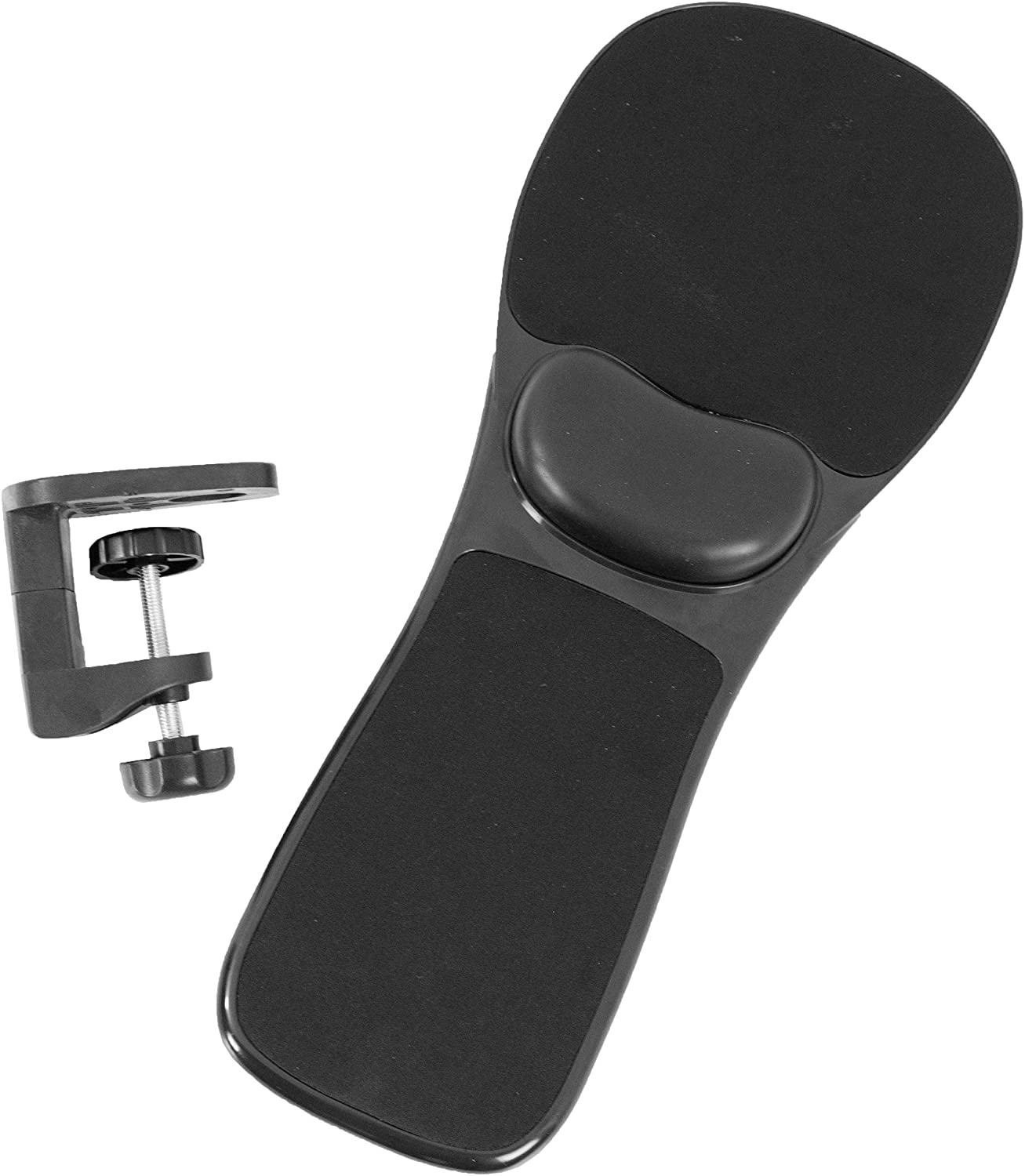 VIVO Black Universal Clamp-on Adjustable Arm Rest Mouse Pad with Wrist Cushion   Extension Platform Tray Attaches to Desk or Chair (MOUNT-MS02B)