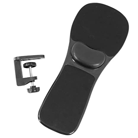 Vivo Black Universal Clamp On Adjustable Arm Rest Mouse Pad With Wrist Cushion Extension Platform Tray Attaches To Desk Or Chair Mount Ms02b