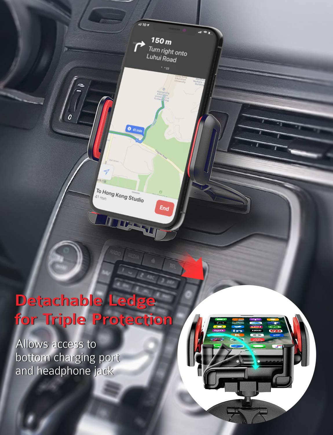 Mpow 051 Car Phone Mount, CD Slot Car Phone Holder, Car Mount with Three-Side Grips and One-Touch Design Compatible iPhone Xs MAX/XR/XS/X/8/8Plus, Galaxy S10/S10+/S10e/S9/S9+/N9/S8, Google, Huawei etc by Mpow (Image #4)