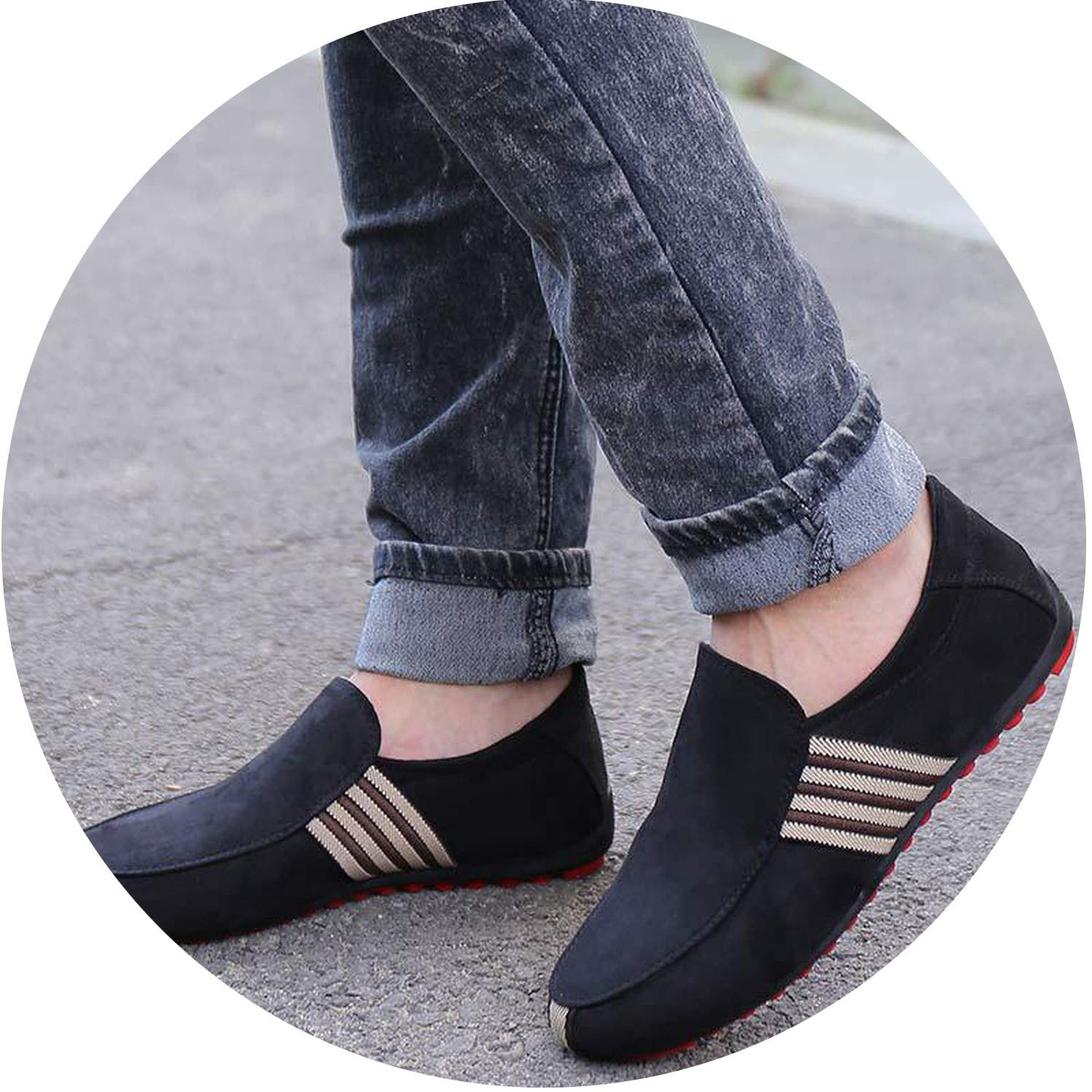 2019 New Spring Men Suede Leather Loafers Driving Shoes Moccasins Summer Fashion Mens Casual Shoes Flat Breathable Lazy Flats,Fabric Black,8.5,Spain