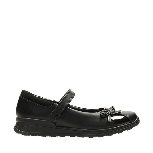 c536d26830f1 Clarks 2662-95E Mariel Wish JNR Black Kids School Shoes  Amazon.co.uk  Shoes    Bags