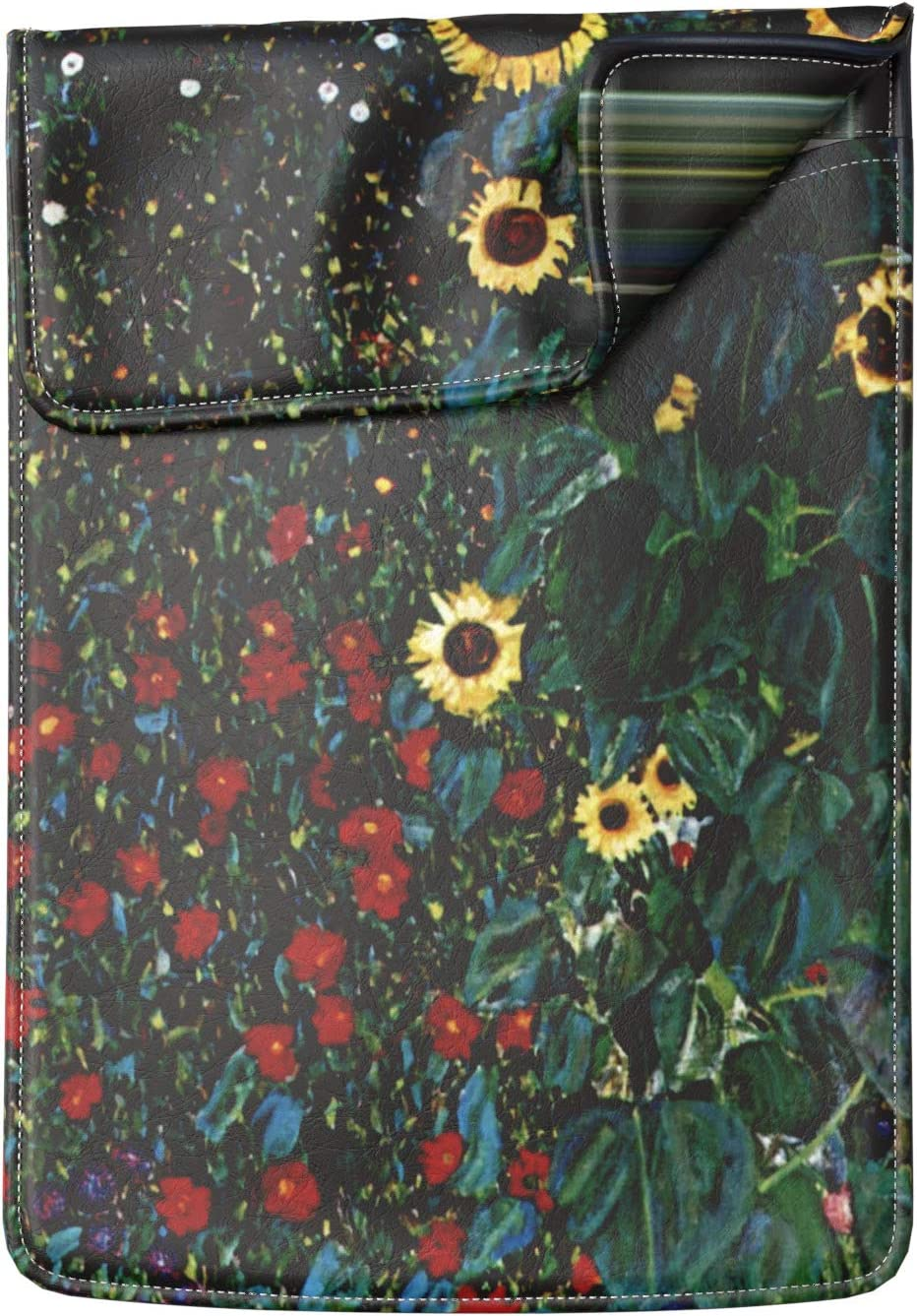 Lex Altern Laptop Sleeve Case for MacBook Air 13 Mac Pro 16 15 Retina HP Dell ASUS Acer Lenovo 11 12 14 17 inch 2020 Farm Garden with Sunflowers Gustav Klimt Art Leather Cover Protective Print Slim