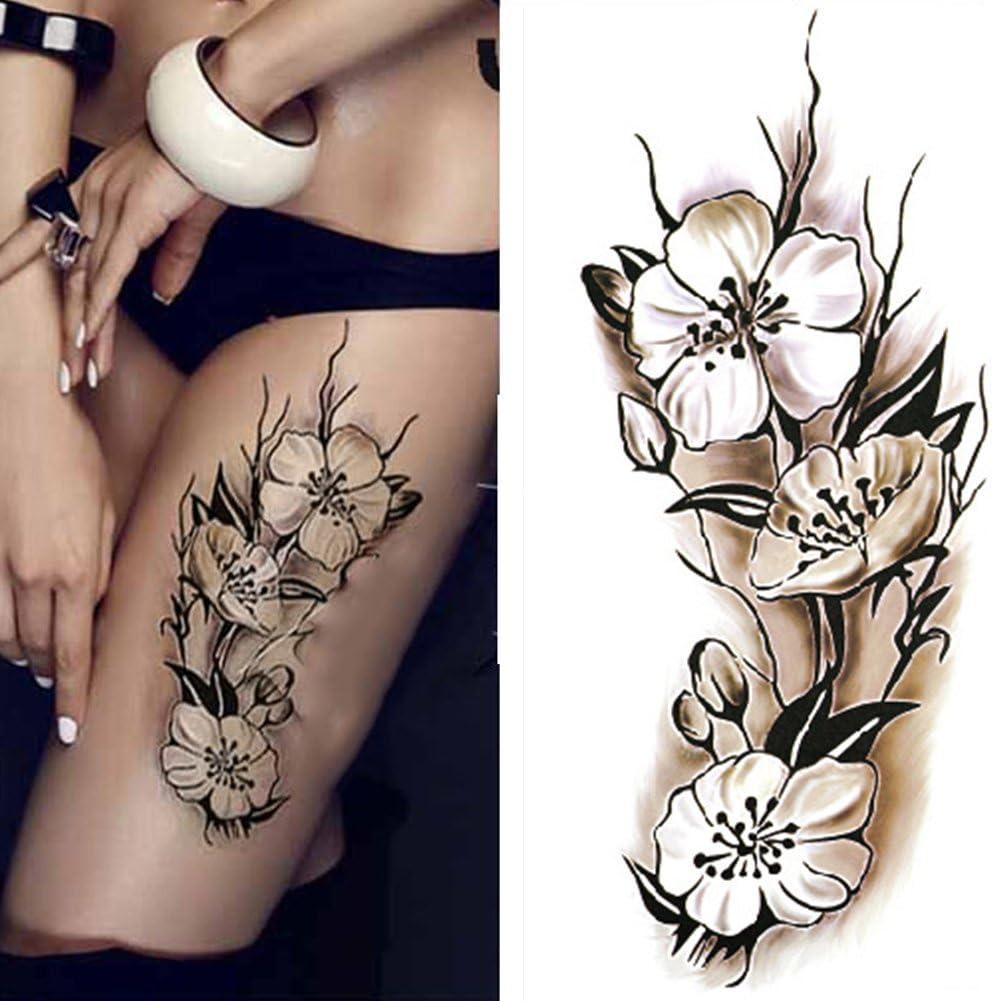 Tatuajes temporales, color negro y blanco, diseño de flores de ...