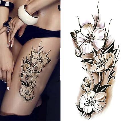 Tatuajes Temporales Color Negro Y Blanco Diseño De Flores De
