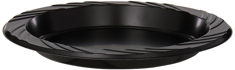 "Genuine Joe GJO10427 Plastic Round Plate, 6"" Diameter, Black (Pack of 125)"
