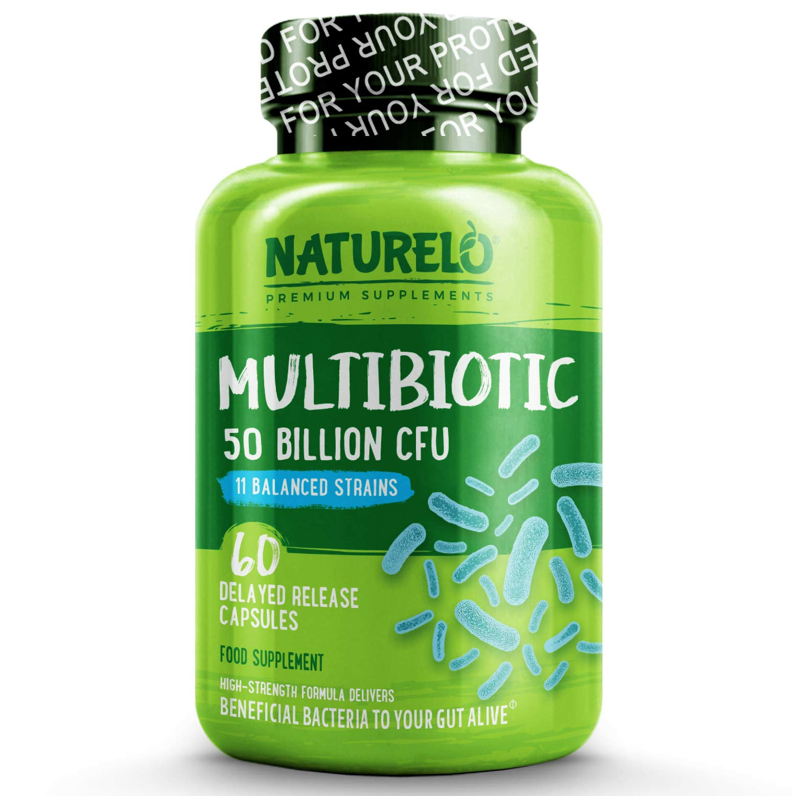 NATURELO Multibiotic - Ultra Strength - 50 Billion CFU - 11 Strains - One Daily - Best for Digestive Health and General Wellness - No Refrigeration Needed - 60 Vegan Capsules | 2 Month Supply