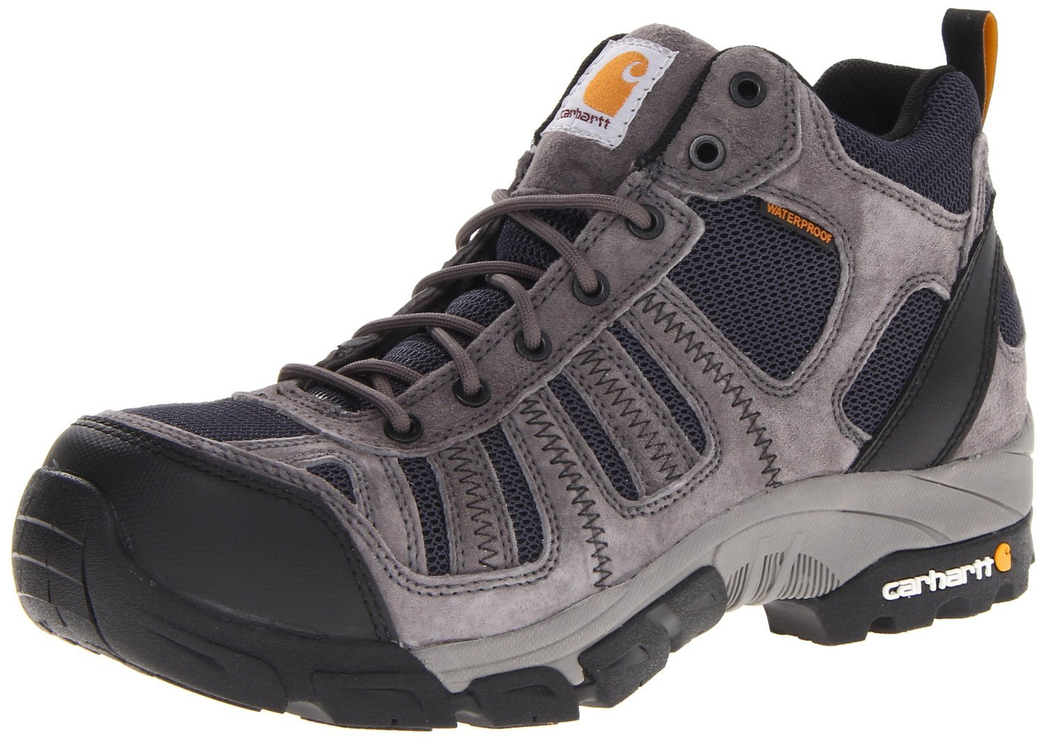 Carhartt Men's 4'' Lightweight Waterproof Composite Toe Work Hiker Boot CMH4375,Grey Suede/Navy Nylon,9 W US
