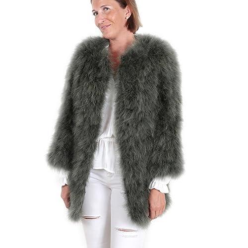 Abrigo chaqueta larga de pelo mujer de pluma auténtica EYES ON MISHA otoño invierno, fiesta, verde oscuro, talla S/M: Amazon.es: Zapatos y complementos