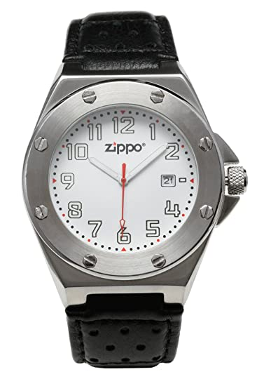 Zippo 45008 - Reloj analógico de cuarzo para hombre con correa de piel, color negro
