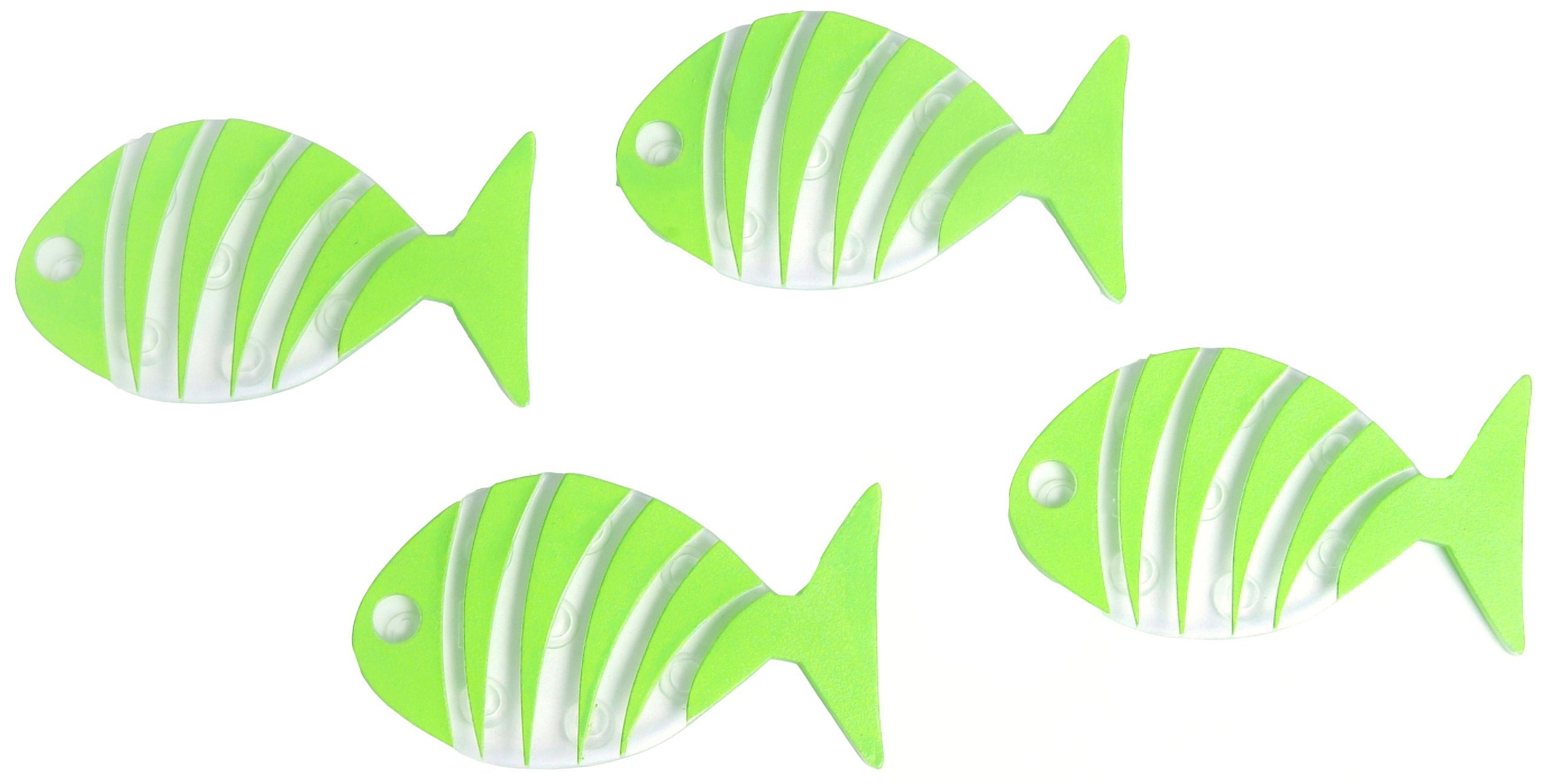 Con-Tact Brand Pack of Six Non-Adhesive Tub Treads, Lime Green Fish, 5.25'' x 3''