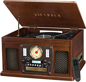 Victrola Wood 8-in-1 Nostalgic Bluetooth Record Player Turntable