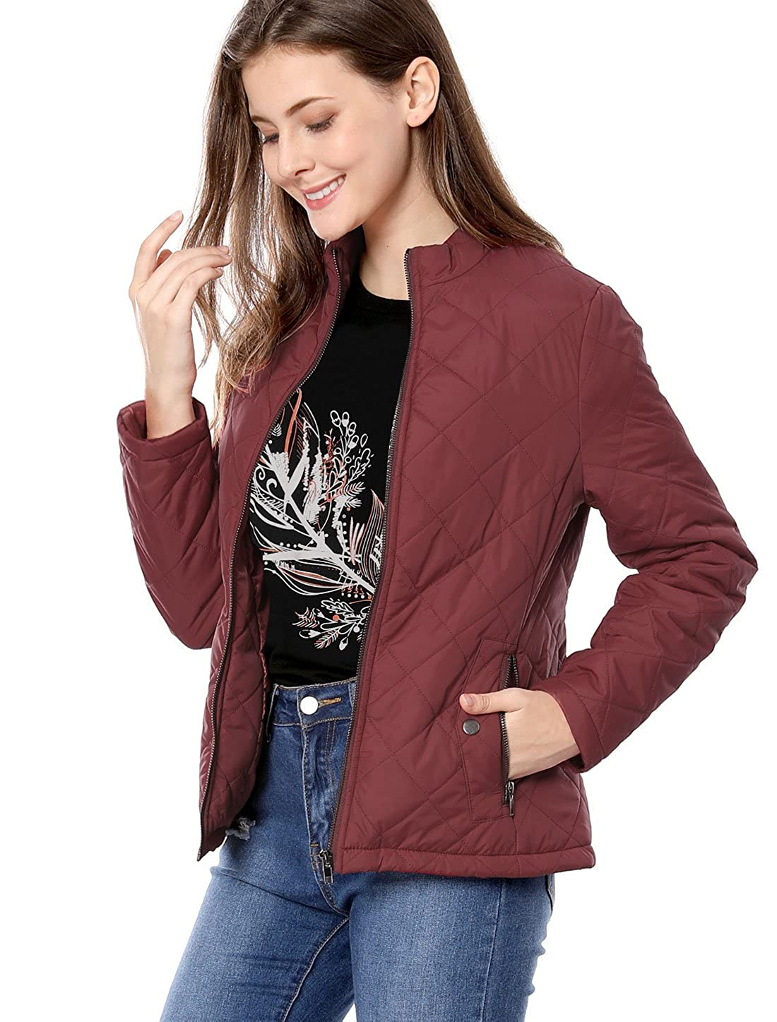 Allegra K Women's Long Sleeves Zippered Pockets Stand Collar Quilted Jacket g16072900ux0024