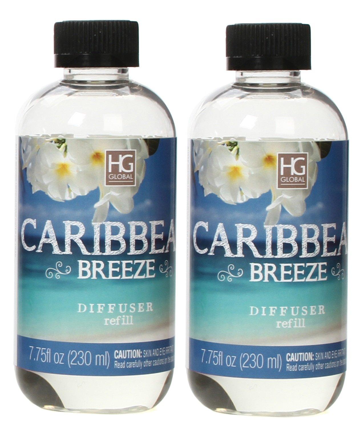 Hosley Set of 2 Premium Caribbean Breeze Reed Diffuser Refills Oil, 230 ml (7.75 fl oz) Made in USA. Bulk Buy. Ideal Gift for Weddings, spa, Reiki, Meditation Settings W1