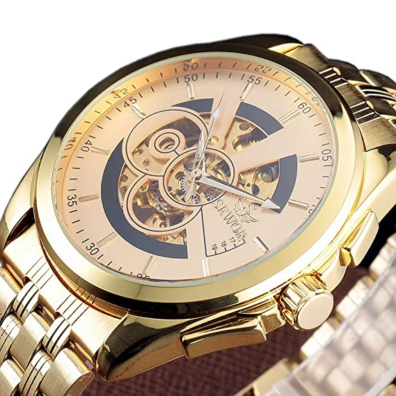 SEWOR reloj para marca de lujo Big Reloj Hombre automática reloj deportivo casual macho dorado esqueleto de acero completa los relojes de pulsera: ...