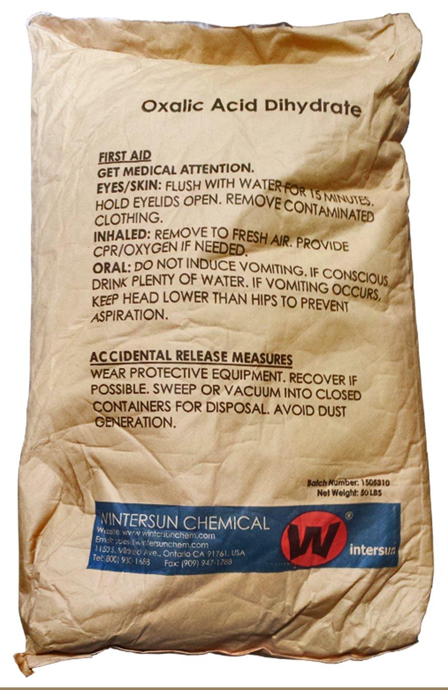 Oxalic Acid Dihydrate [H2C2O4 2H2O ] [CAS_6153-56-6] 99.6+% Fine White Crystal/ Powder (50 Lbs Bag) by Wintersun Chemical