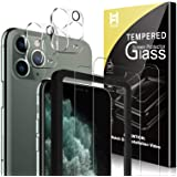 HATOSHI 2 Pack Screen Protector + 2 Pack Camera Lens Protector Compatible for iPhone 11 Pro Max 6.5-inch Tempered Glass, Easy