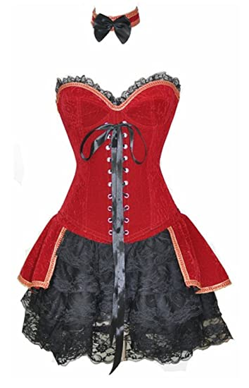 12f117f868d KUOSE Sexy Lingerie Burlesque Bustier Moulin Rouge Velvet Vampire Corset  Dress  Amazon.co.uk  Clothing
