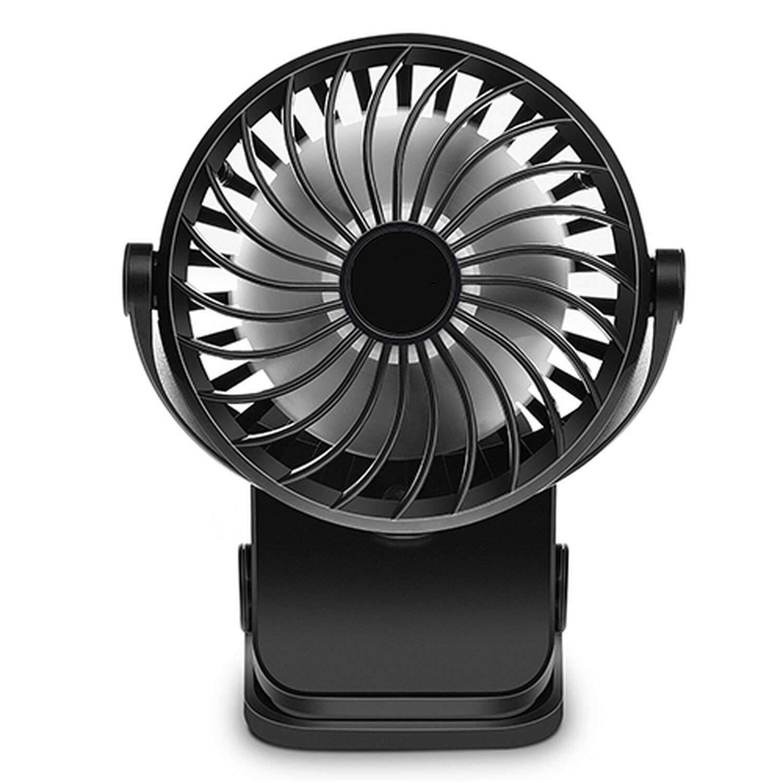 Mini Rechargeable Pedestal Table Desk Fan Multi USB Fan for Home Office Electric Abs Fans 360 Degree Rotation Hand Fan,Black