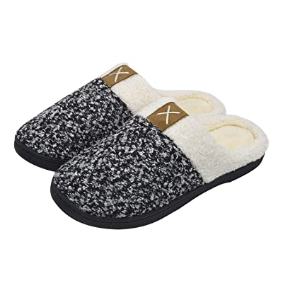 iParaAiluRy Comfy Memory Foam Slippers for Women Men Anti-Slip House Slippers with Plush Fleece Lining: Clothing