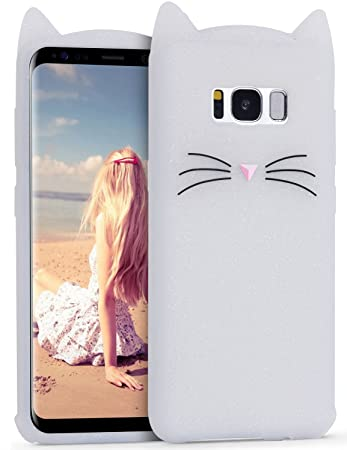 IMIKOKO Samsung Galaxy s8 ケース ギャラクシーs8カバー かわいい 猫 ねこ シリコン みみ 純正 キャラクター ディズニー