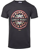 The Beatles Lonely Hearts Logo T Shirt (Schwarz)